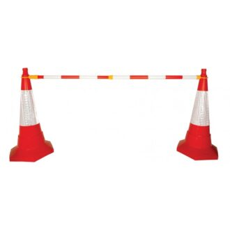 Retractable Cone Bar Barrier – Red/White
