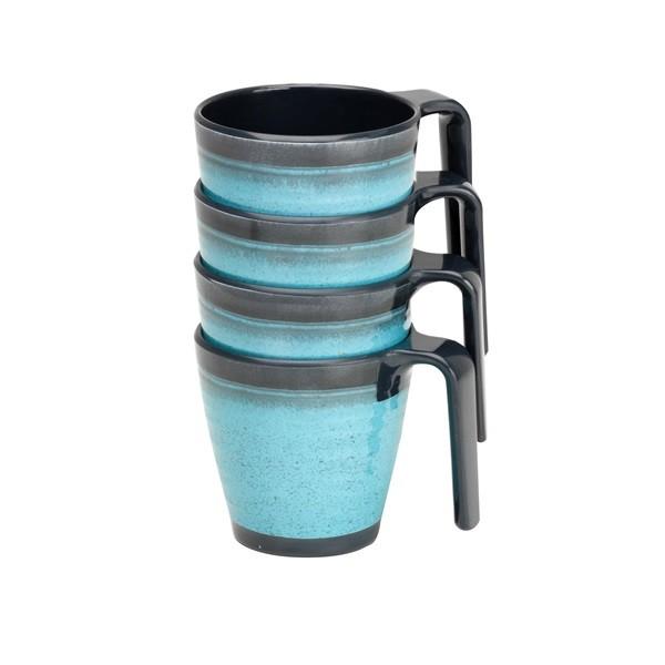 Granite Stacked Mug Set Aqua – Pack of 4