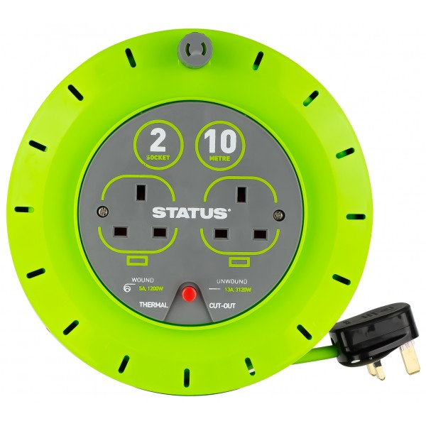 2 Way Cassette Cable Reel – Green – 10m