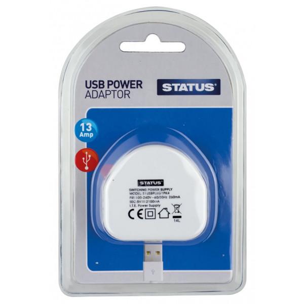 USB Power Adaptor – 13A – Single Pack