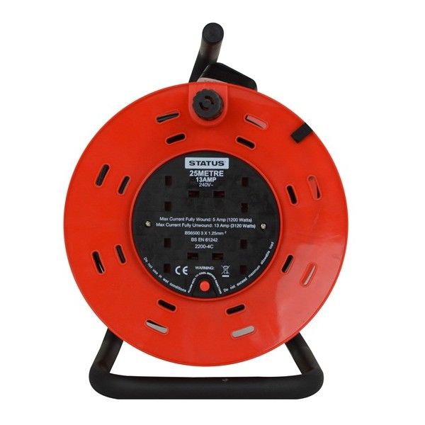 4 Way Open Frame Cable Reel – Red – 25m