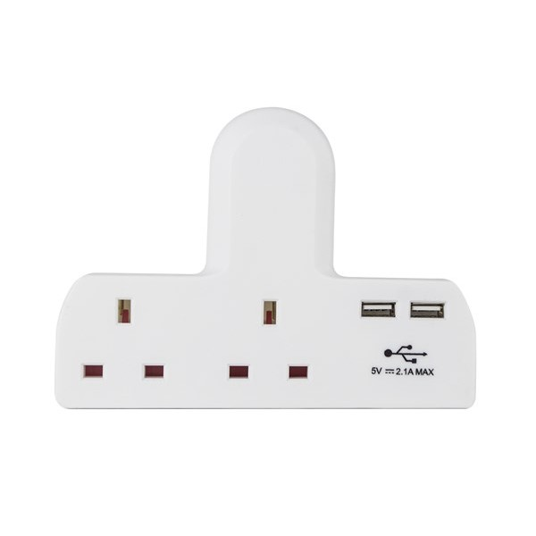 2 Way Cable Free Socket with 2 USB Ports – White