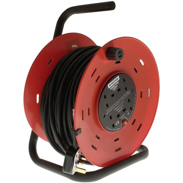 4 Way Open Frame Cable Reel – Red – 50m