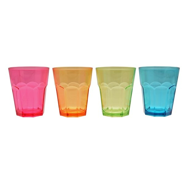 Coloured Acrylic Soda Glasses – Pack of 4