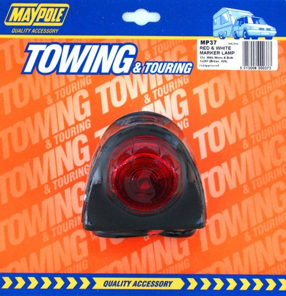 MAYPOLE RUBBER RED/WHITE SIDE MARKER LAMP
