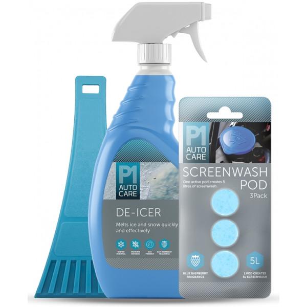 Winter Kit – De-Icer with 3 Screenwash Pods & Ice Scraper