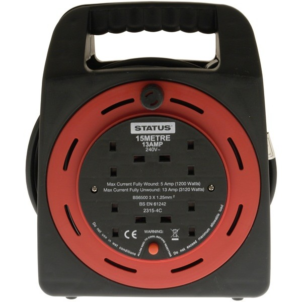 4 Way Cassette Cable Reel – Red – 15m