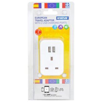 European Plug Through Travel Adaptor with 2 USB Ports – Single Pack