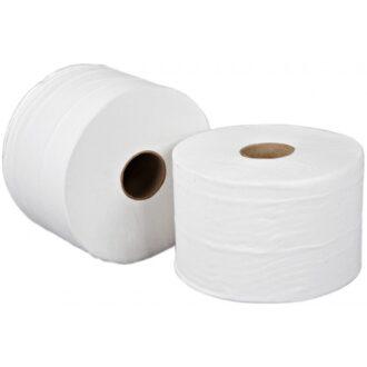 2 Ply White Mini Jumbo Toilet Rolls – 115m – Pack of 12