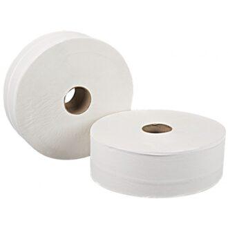 2 Ply White Jumbo Toilet Rolls – 400m – Pack of 6