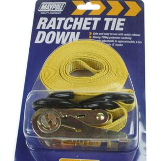 MAYPOLE RATCHET STRAP PLUS HOOKS 4.5M DP